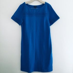 Talbots blue cotton dress with eyelet sleeves